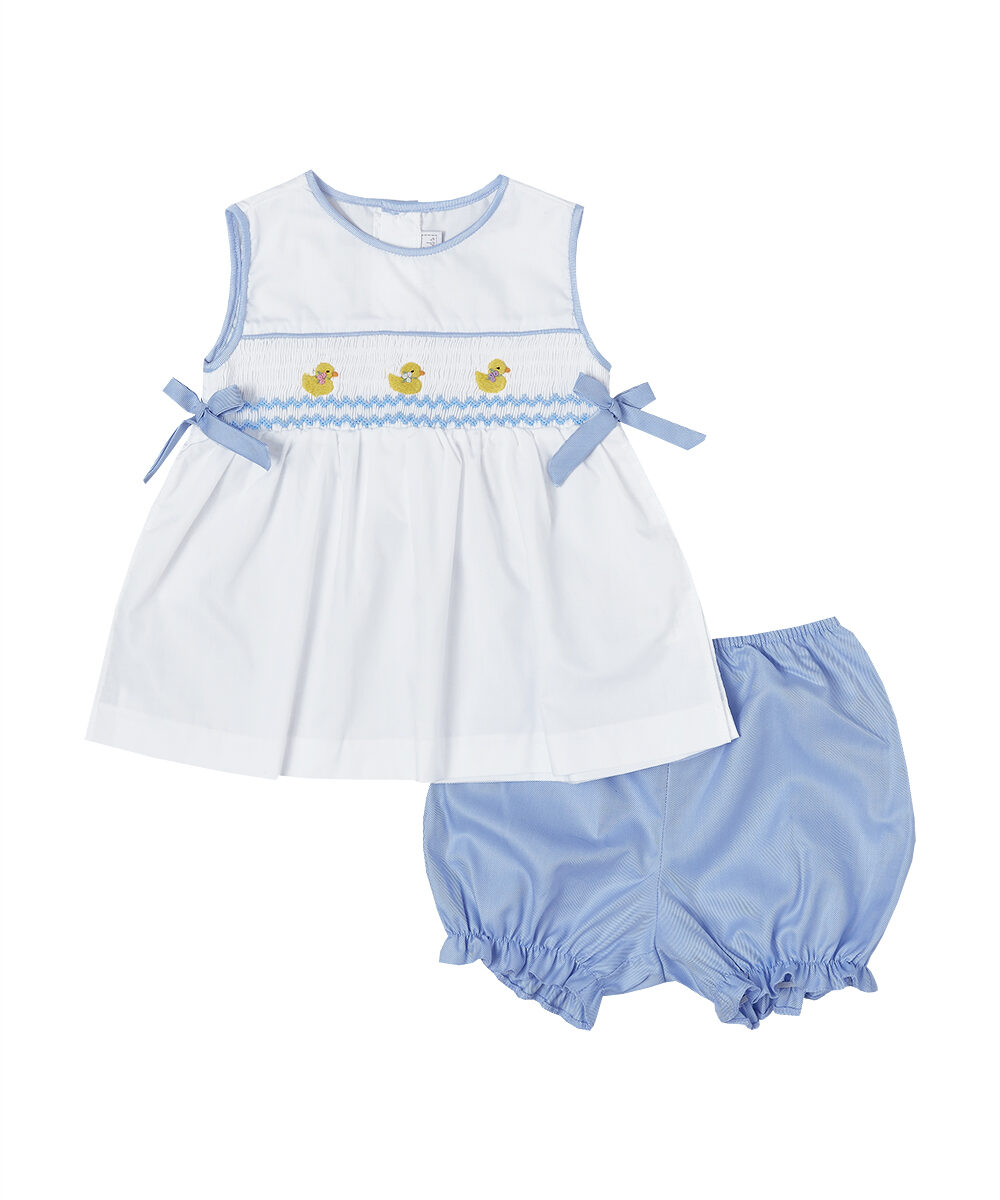 Hand Smocked Baby Duck Top & Bloomers