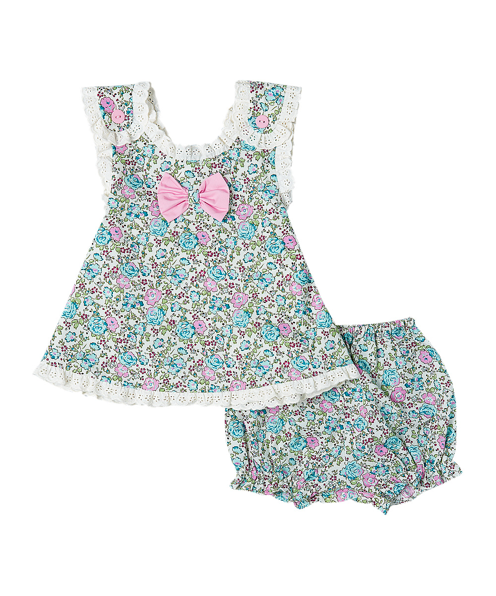 Blue & Pink Liberty Floral Crisscross-Back Swing Top and Bloomers