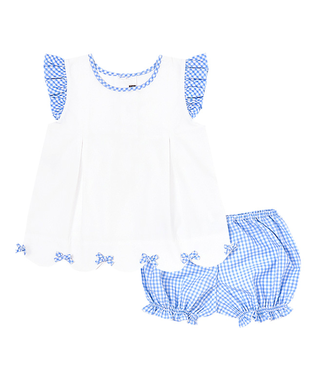 Blue & White Bow Tie Scalloped Top  and Bloomers