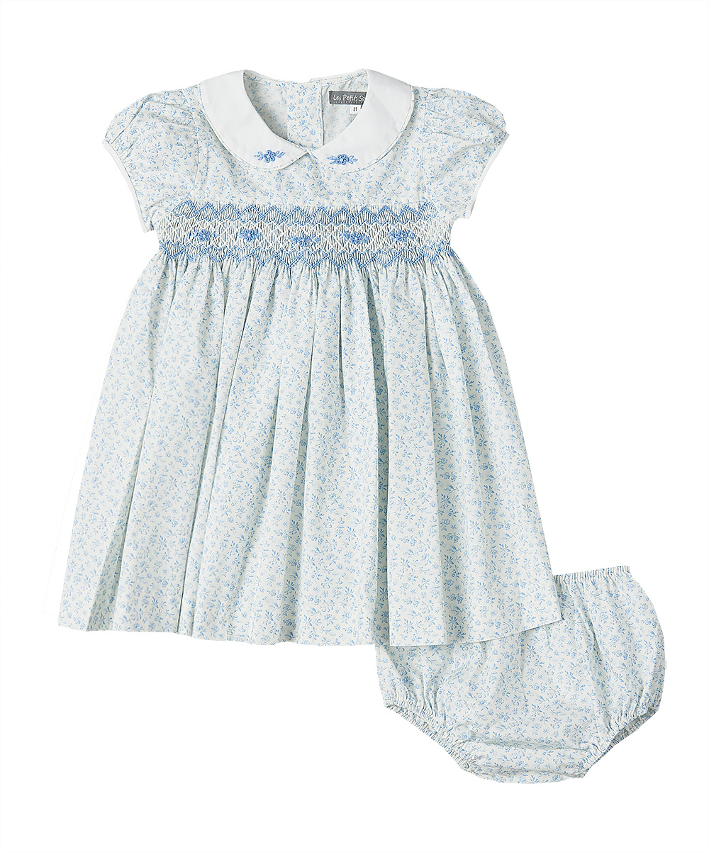 Blue Smocked Floral Dress & Diaper Cover