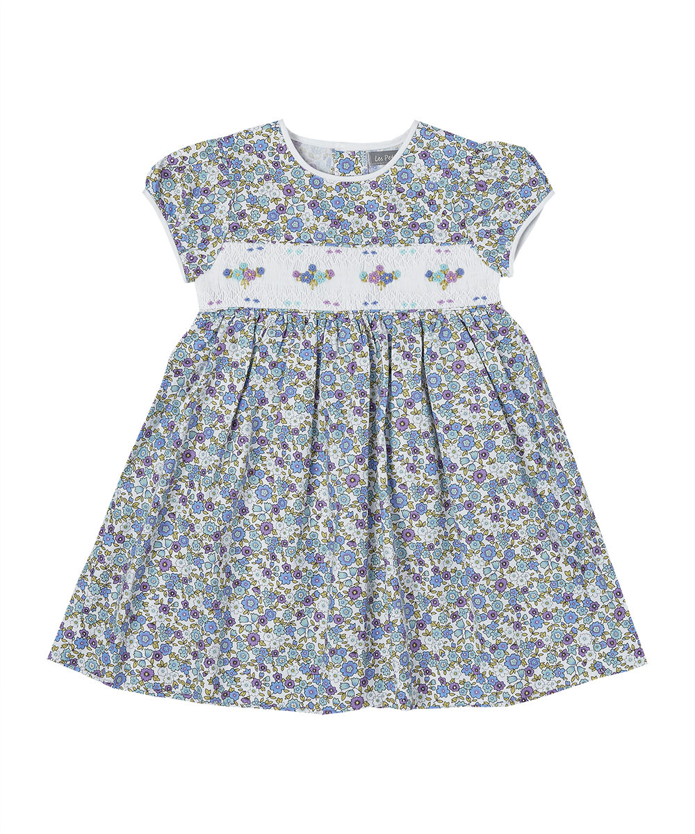 Hand Smocked Multi Color Floral Puff Sleeve Dress