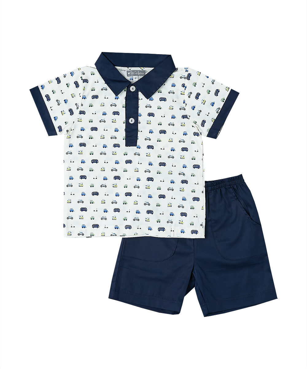 White & Blue Polo Shirt and Shorts