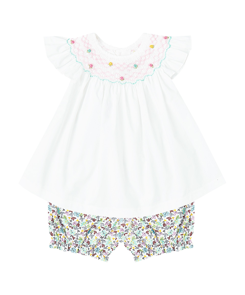 White and Blue Smocked Angel Sleeve Top & Bloomers