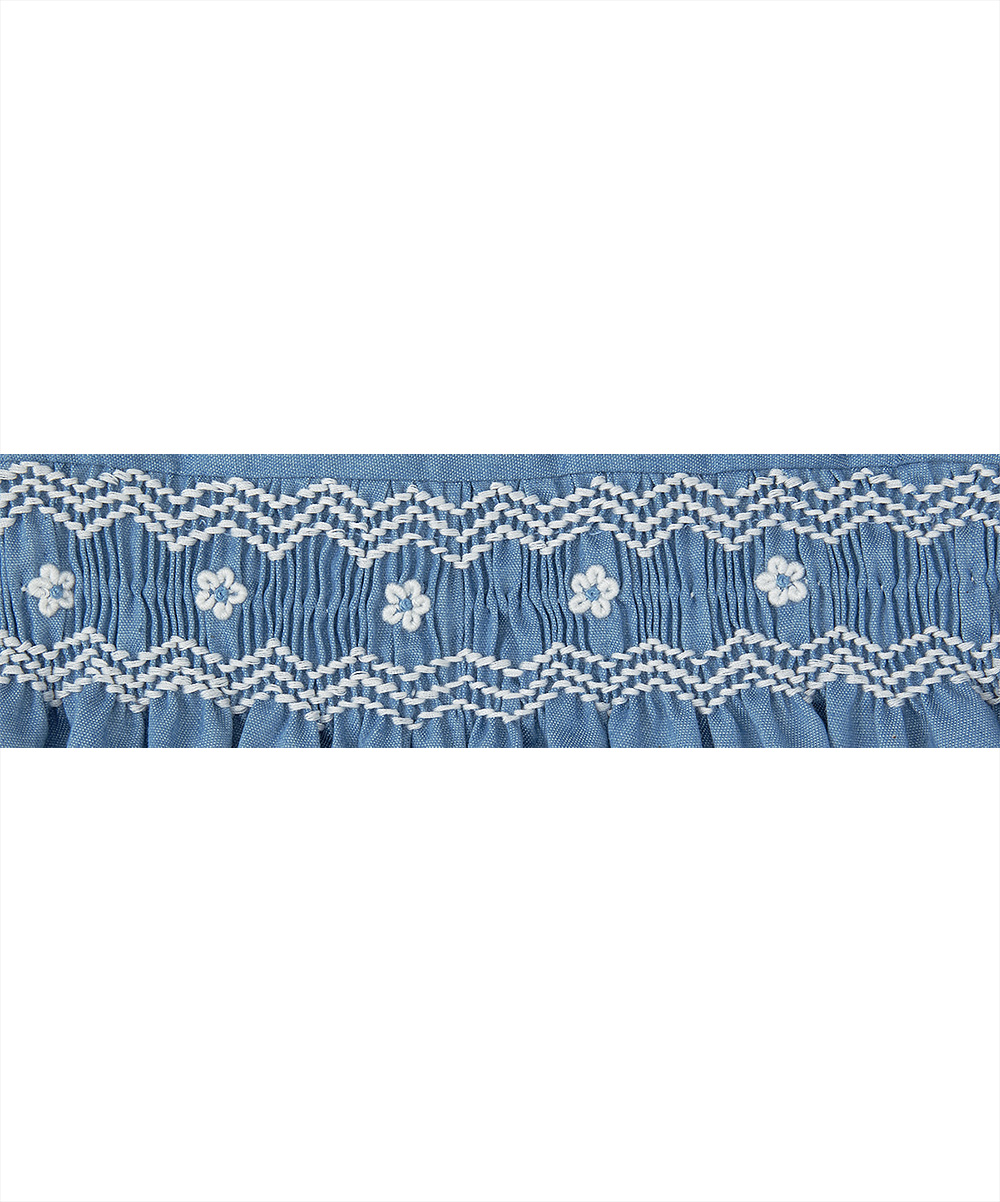 Smocked Blue and White Denim Bubble