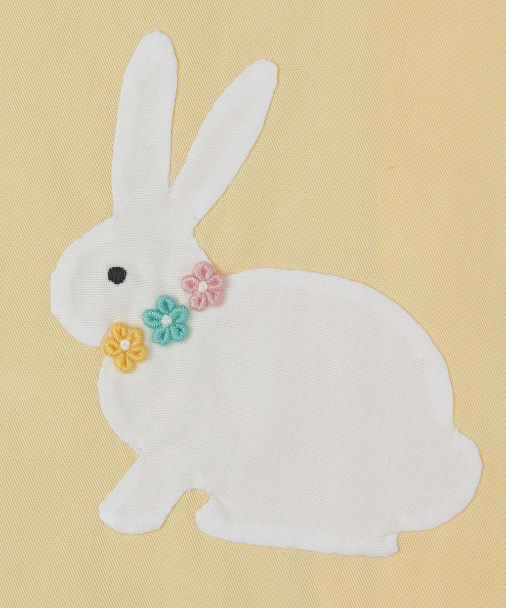 Yellow Bunny Applique A Line Dress & Bloomers