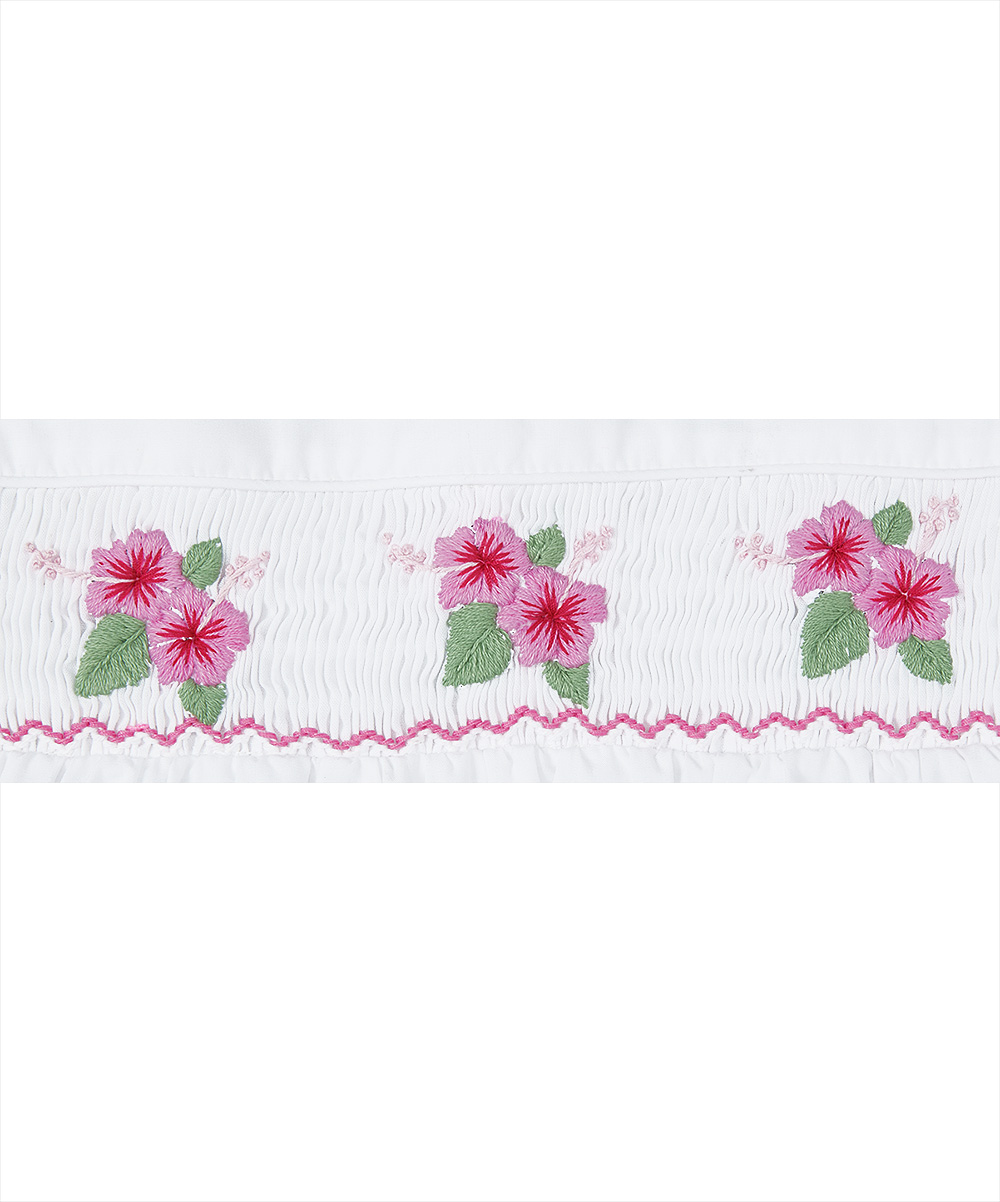 Smocked and Embroidered Hisbiscuss  Top &  Pink Polka Dot Shorts