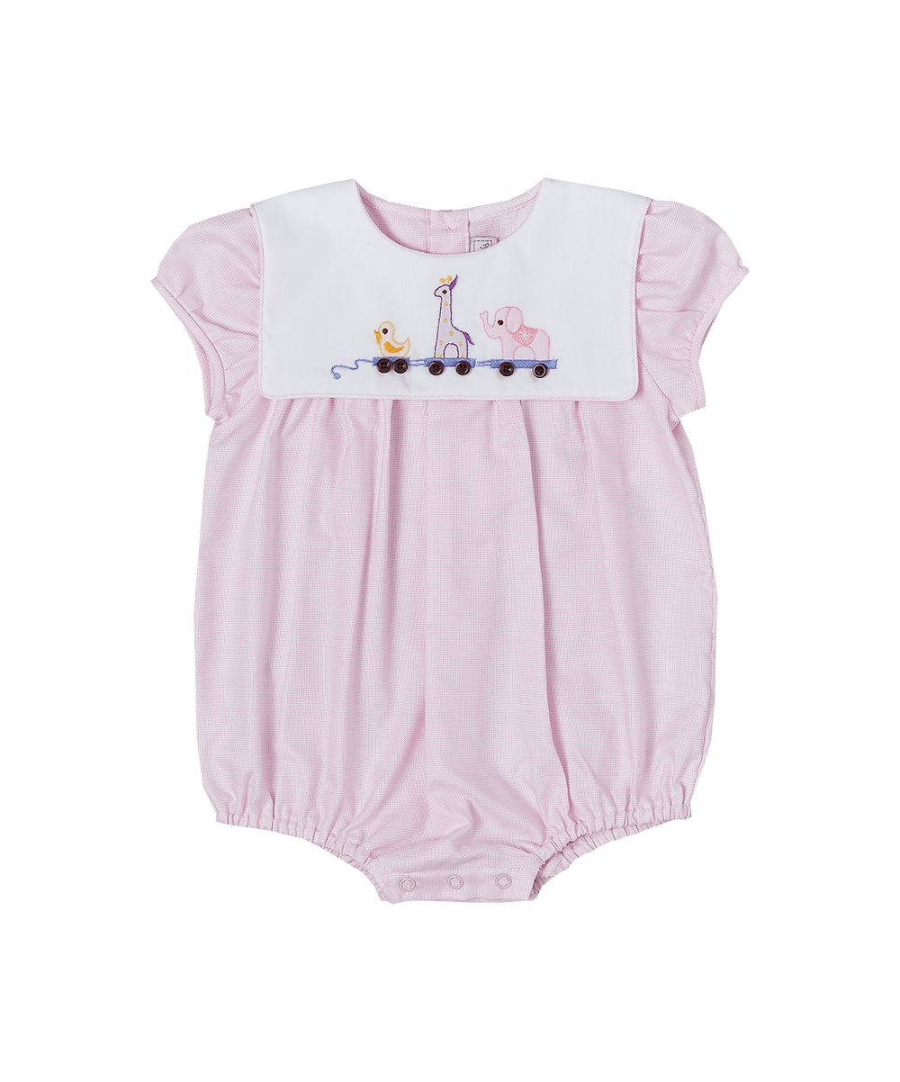 Pink Animal Parade Embroidered Collared Bubble