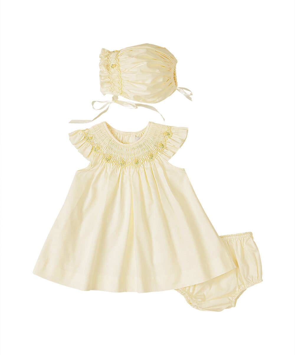 Hand Smocked Angel Sleeve Butter Cup Yellow Dress & Bonnet