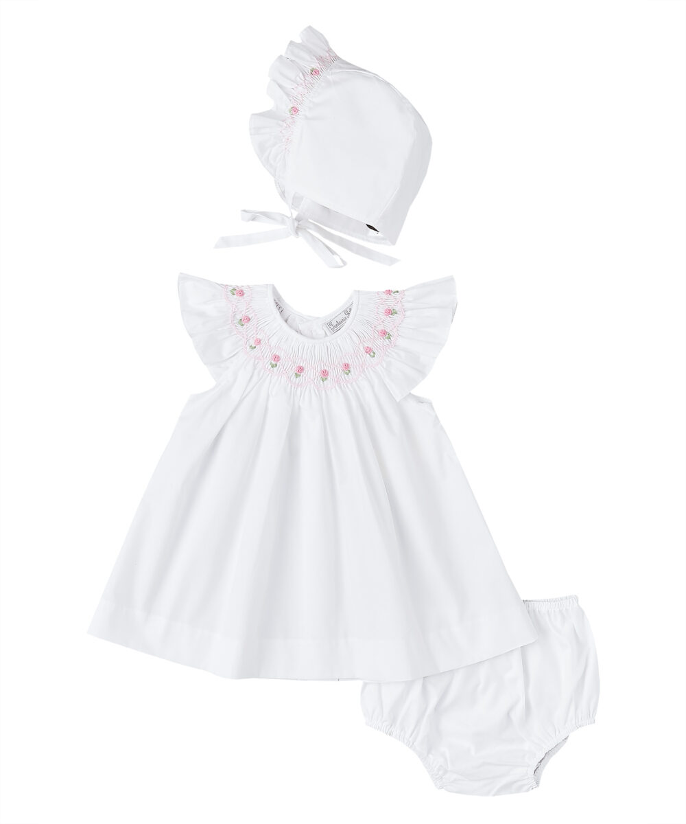 Smocked White & Pink Angel Sleeve Dress with Bonnet and Diaper Cover