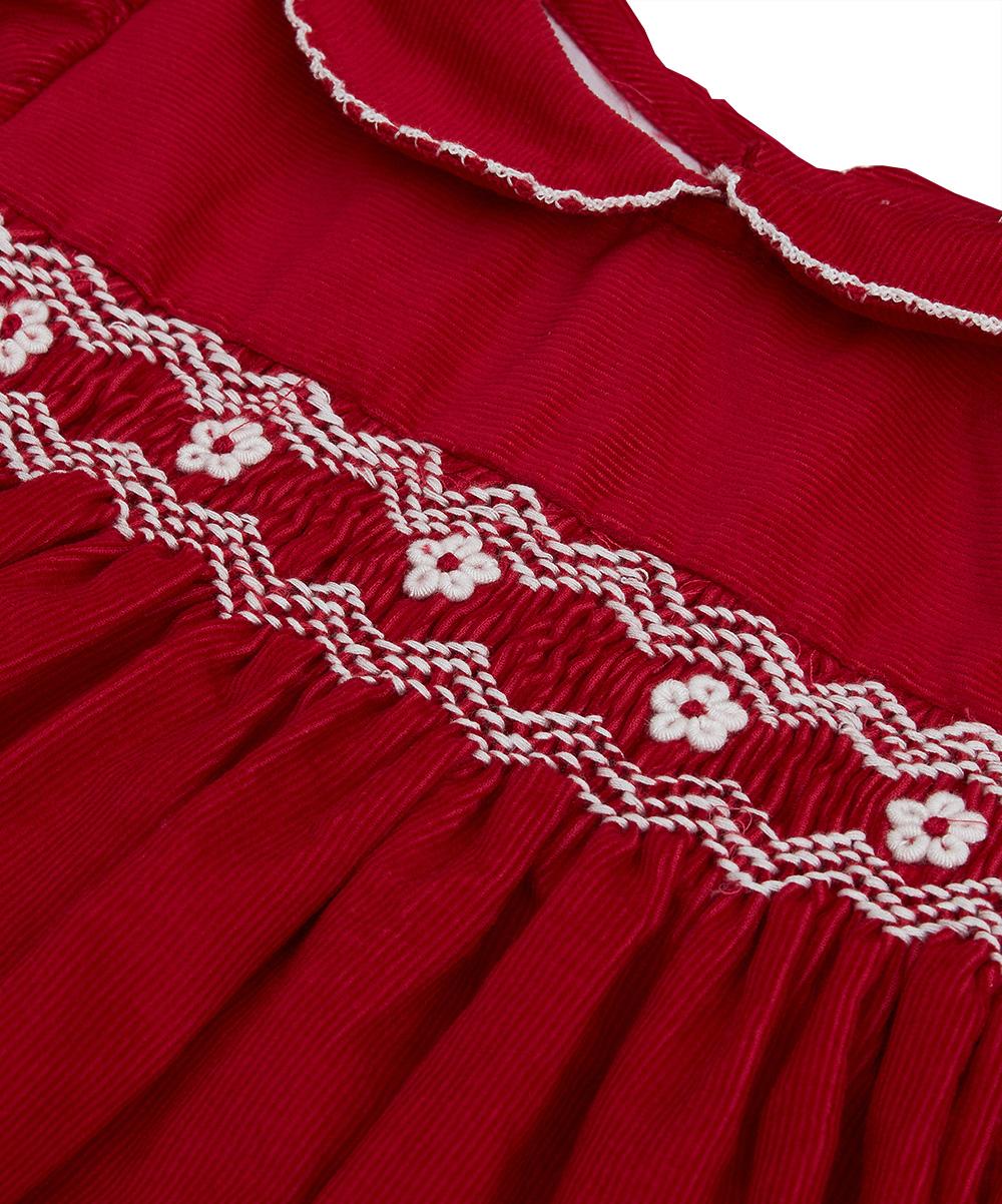 Smocked Red Peter Pan Collar Corduroy Dress