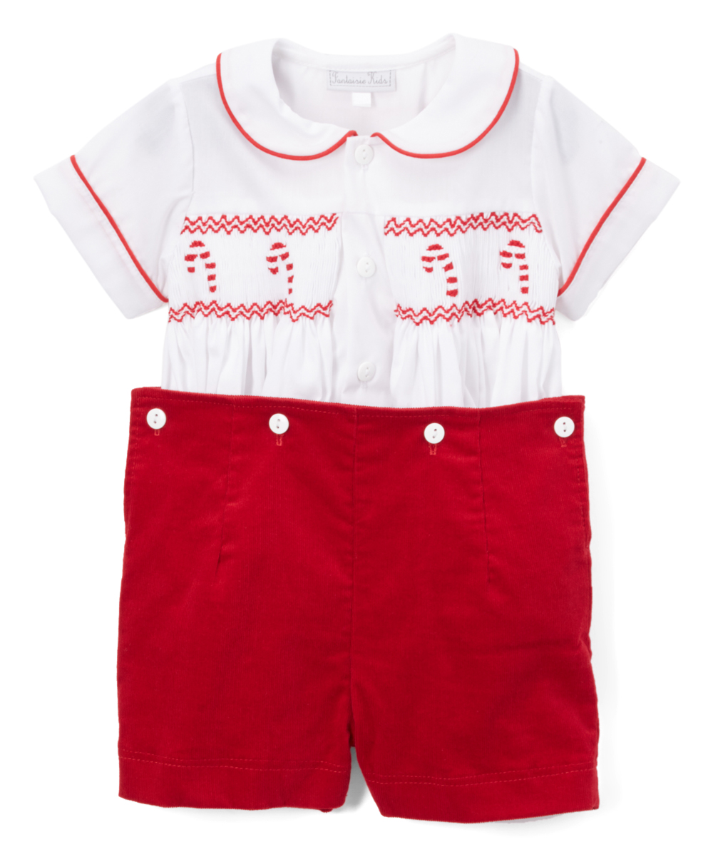 White & Red Candy Cane Shorts and Tee