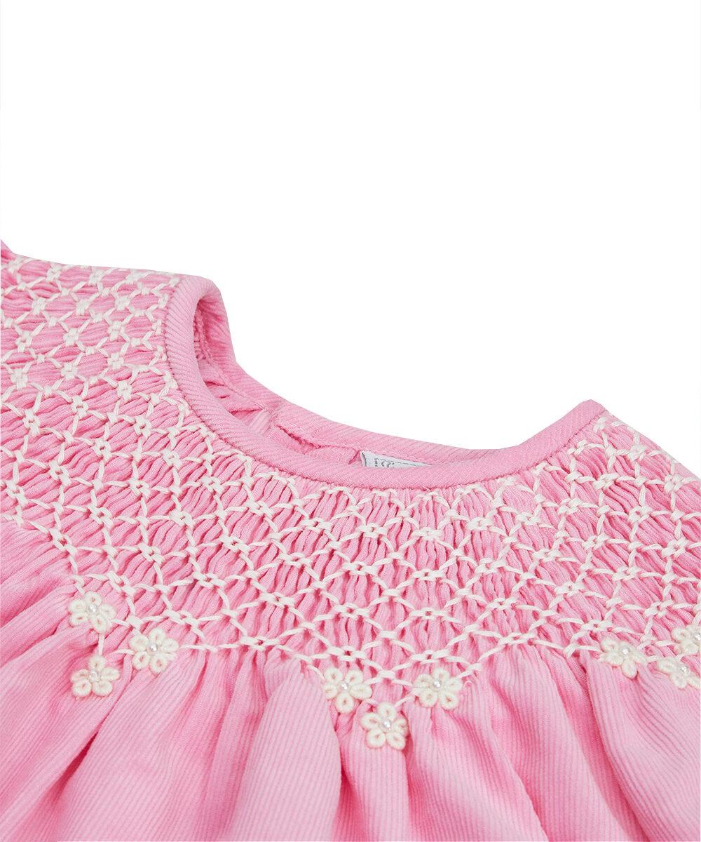 Pink Corduroy Smocked  Dress