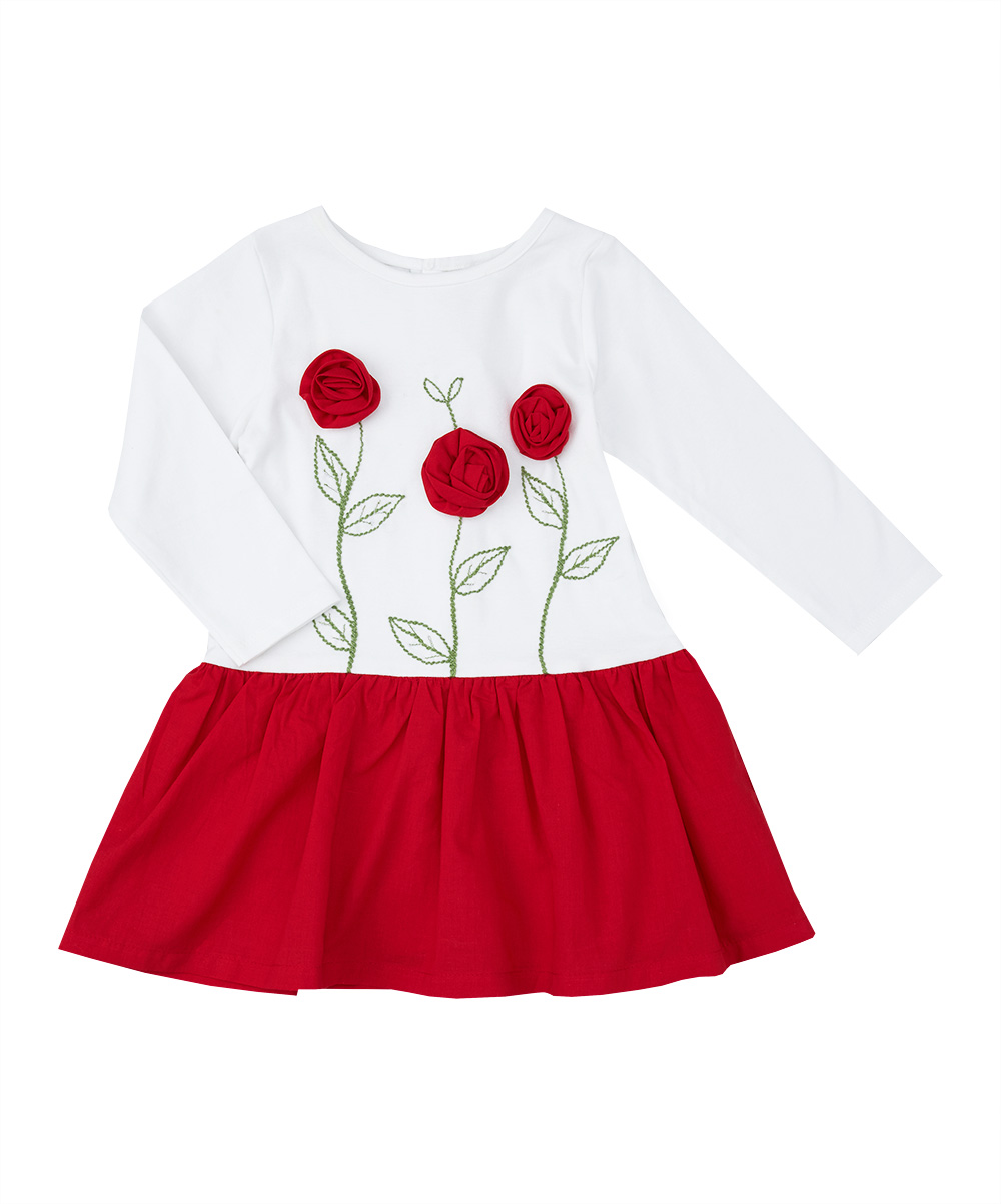 Red Rose Applique & Embroidered Drop Waisted Dress