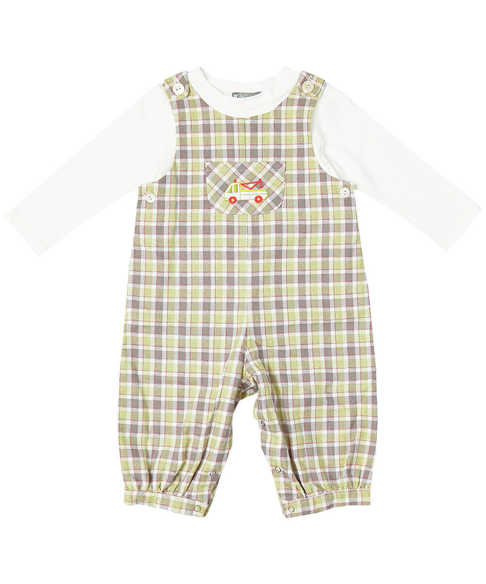 Green & Ivory Towing Truck Applique Overalls And Tee
