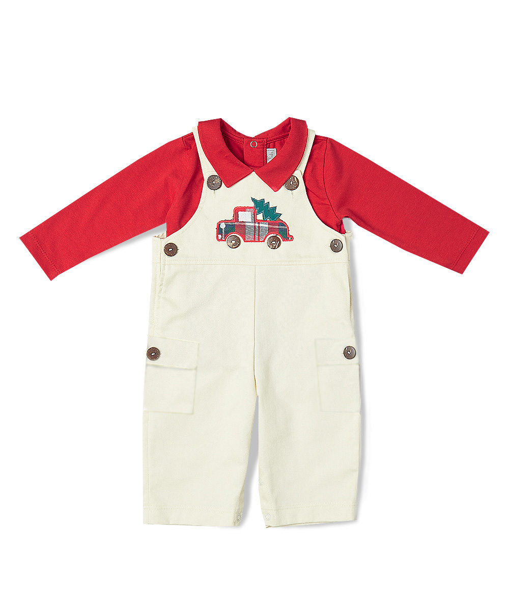 Red Long Sleeve Tee & Christmas Tree Truck Applique Overalls