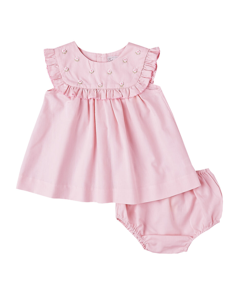 Hand Embroidered Ruffle Pink  Dress & Diaper Cover