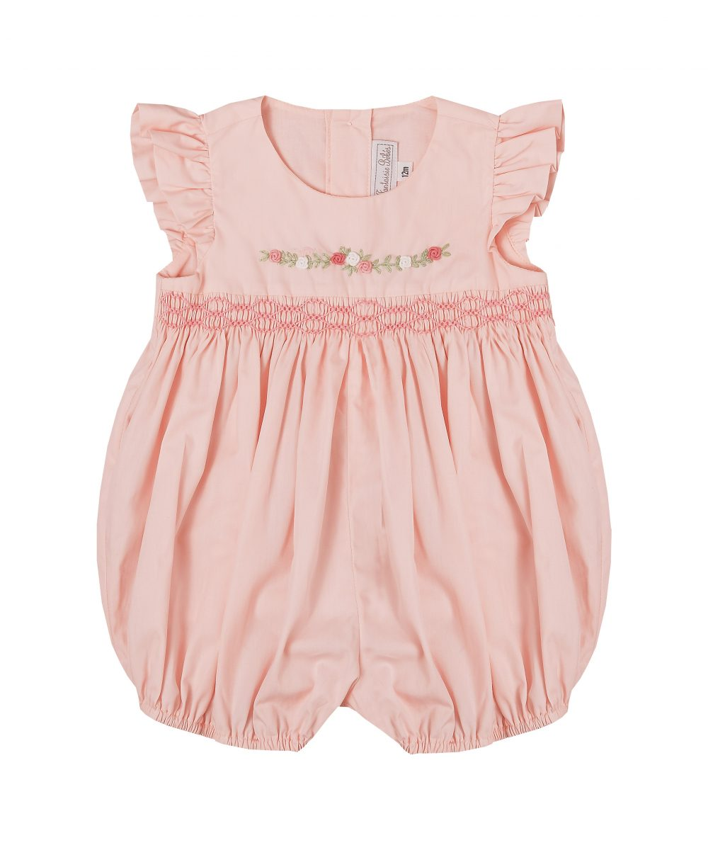 Pink Rosette Embroidered Smocked Bubble Romper