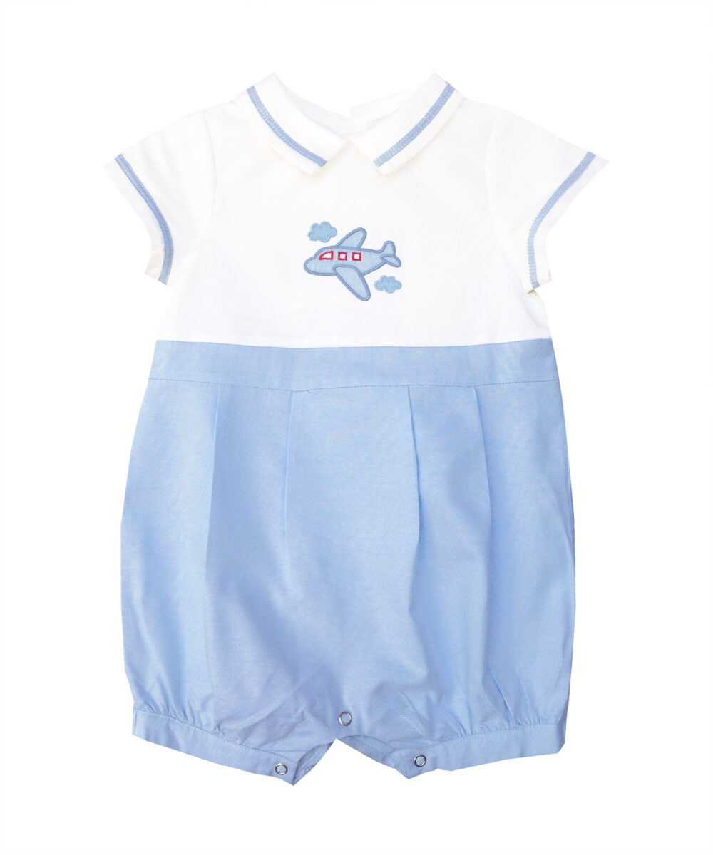 Airplane Applique Embroidered Boy Bubble