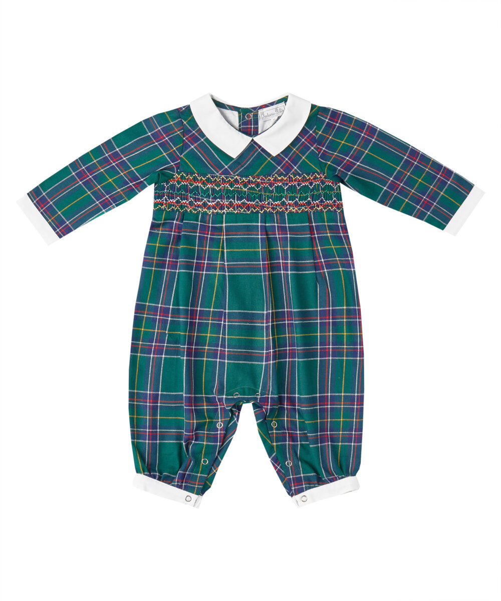 Smocked Green Plaid & Red Longalls