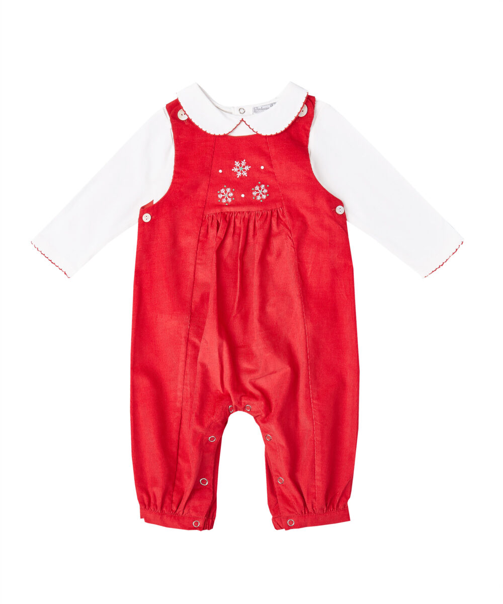 Snowflake Embroidered Red Corduroy  Overalls & Red Trim Blouse