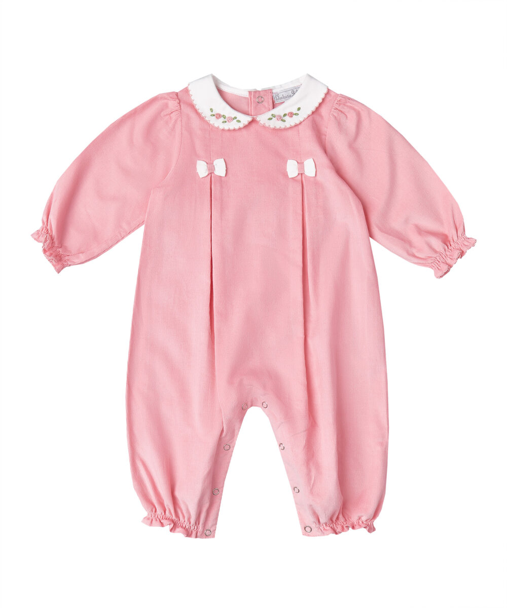 Hand Embroidered Bow Tie Pink Romper