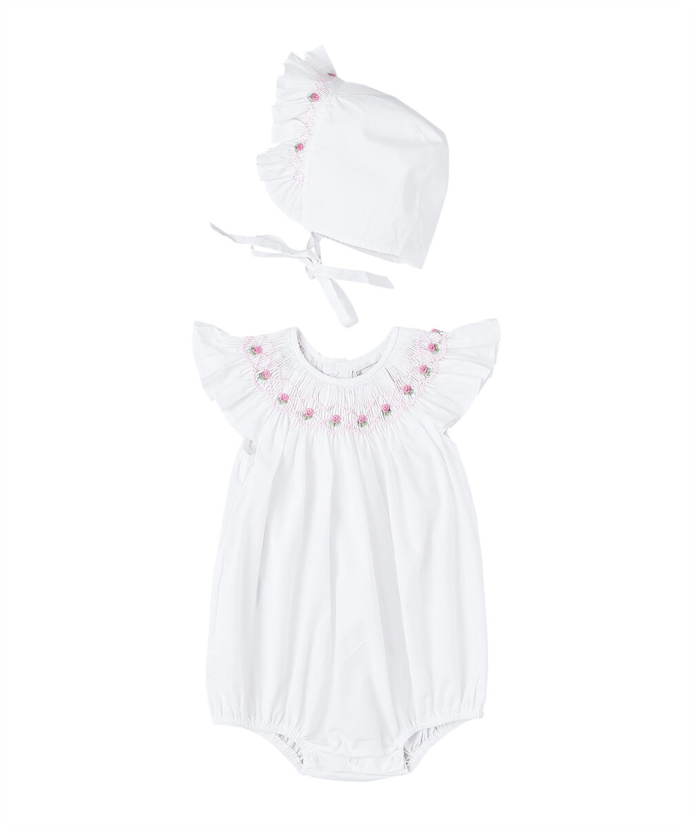 Smocked White & Pink Bubble and Bonnet