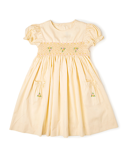 Yellow Smocked Dress & Diaper Cover