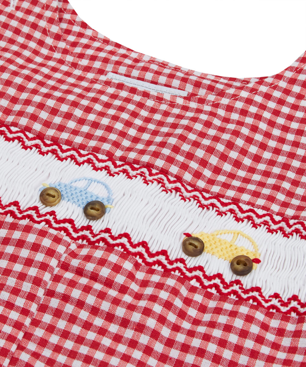 Hand-Smocked Red Jon Jons With Multi-Color Car Detail