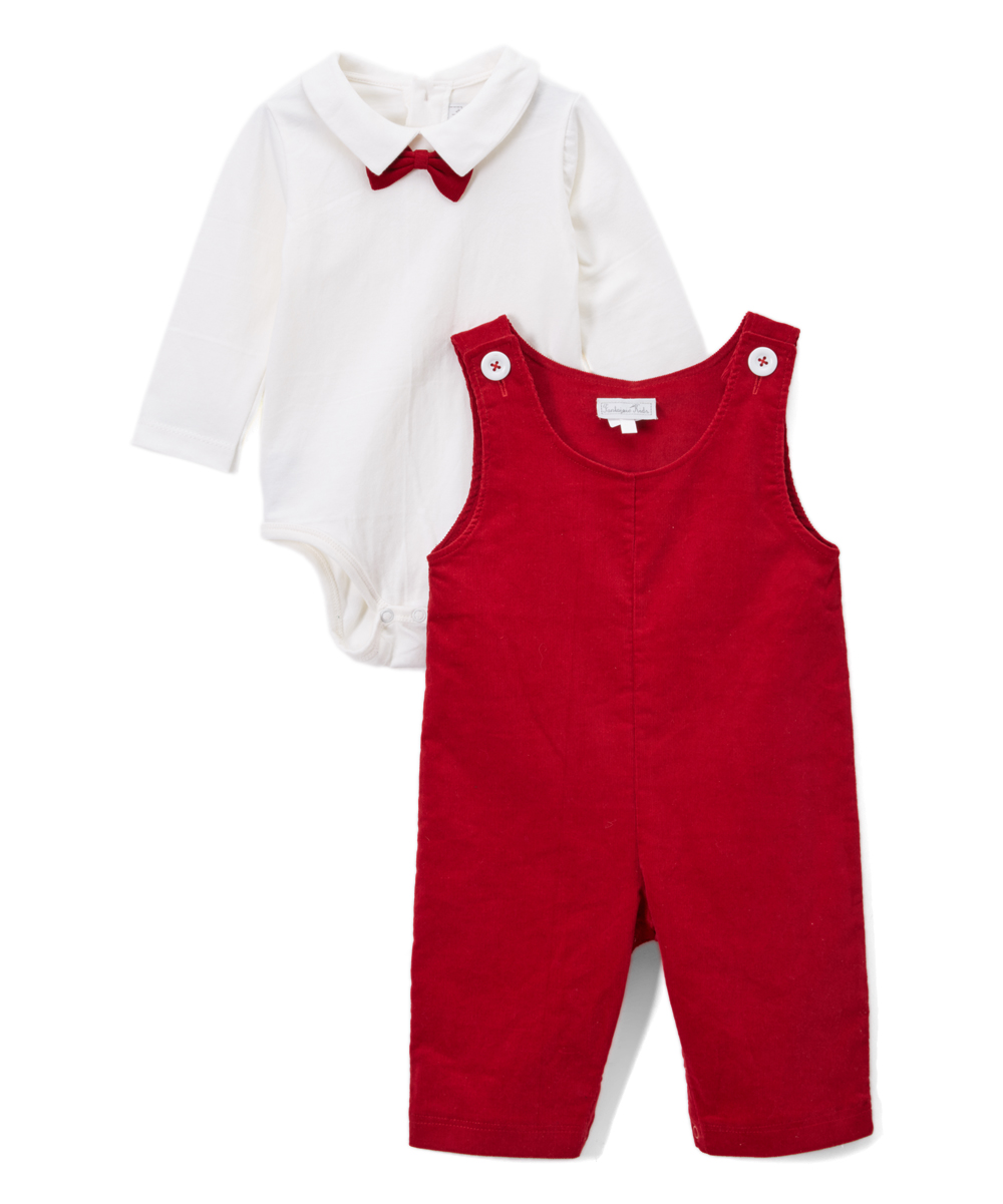 White Bow Tie Body Suit & Red  Corduroy Overalls