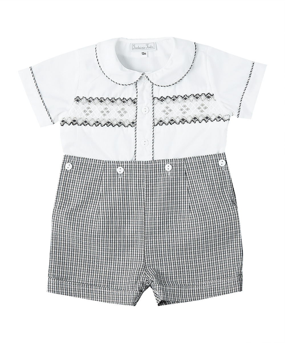 Smocked Shirt and Button on Shorts
