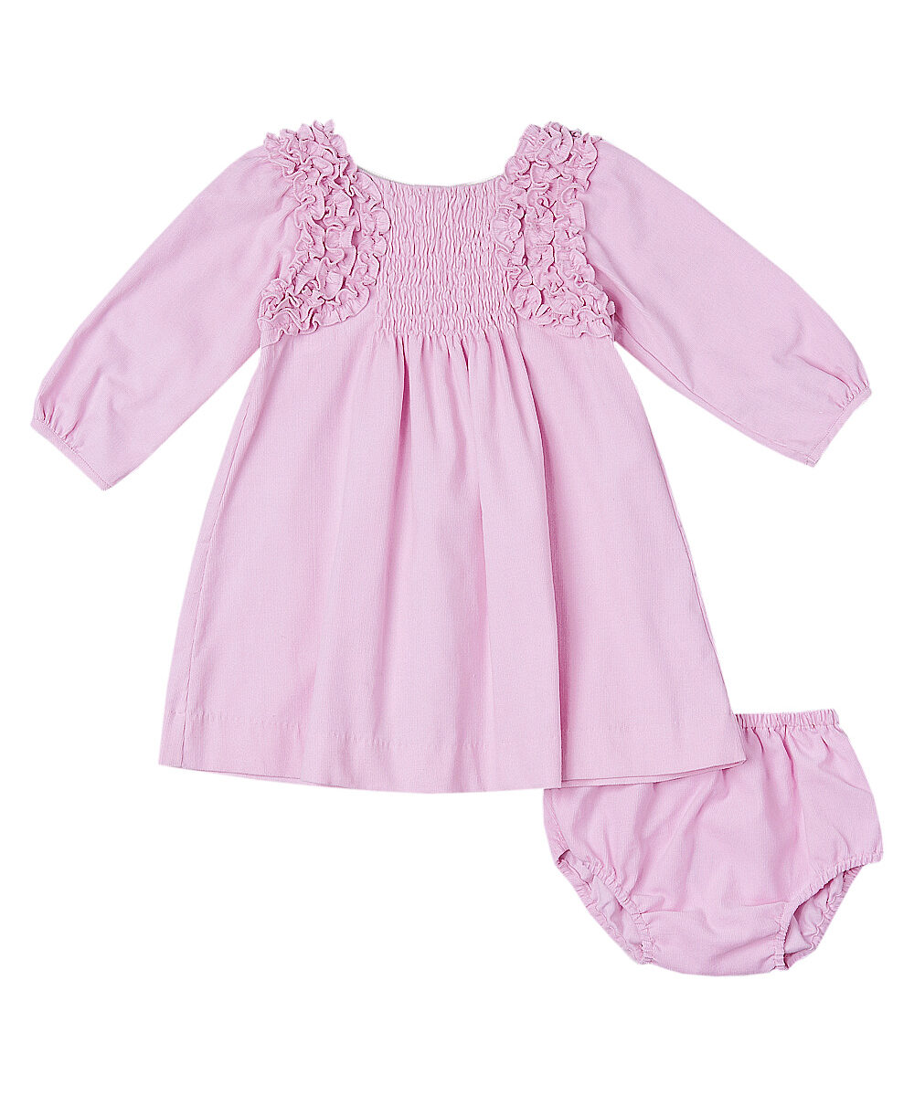 Ruffle Pleated Pink Corduroy Dress & Diaper Cover