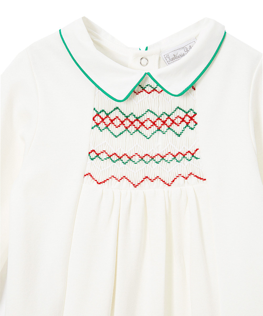 Off-White Smocked  Christmas Tree Footie