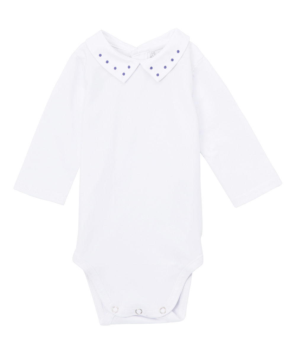 White Long-Sleeve Embroidered Bodysuit