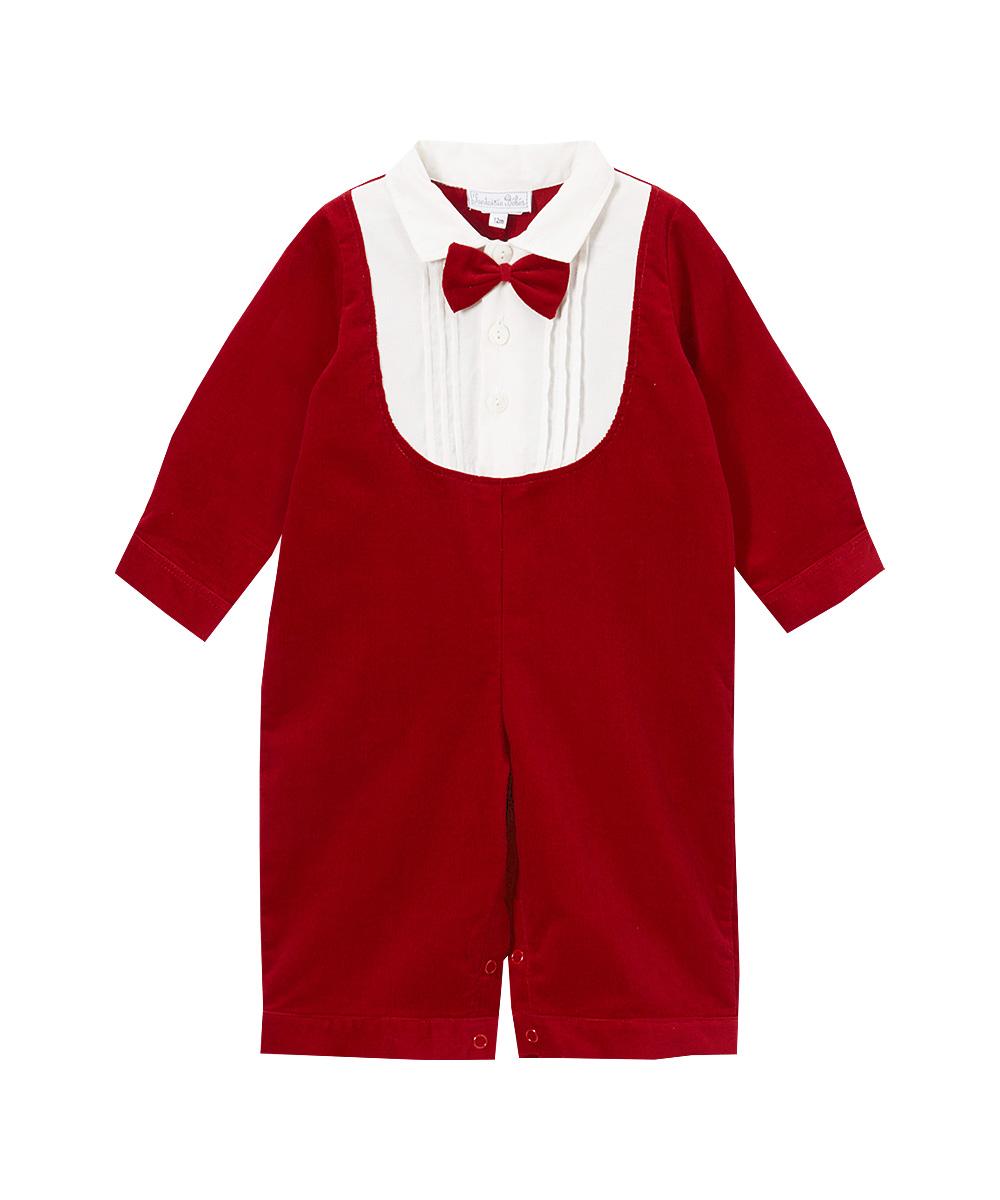 Red &White Bow Tie Tuxedo Corduroy Romper