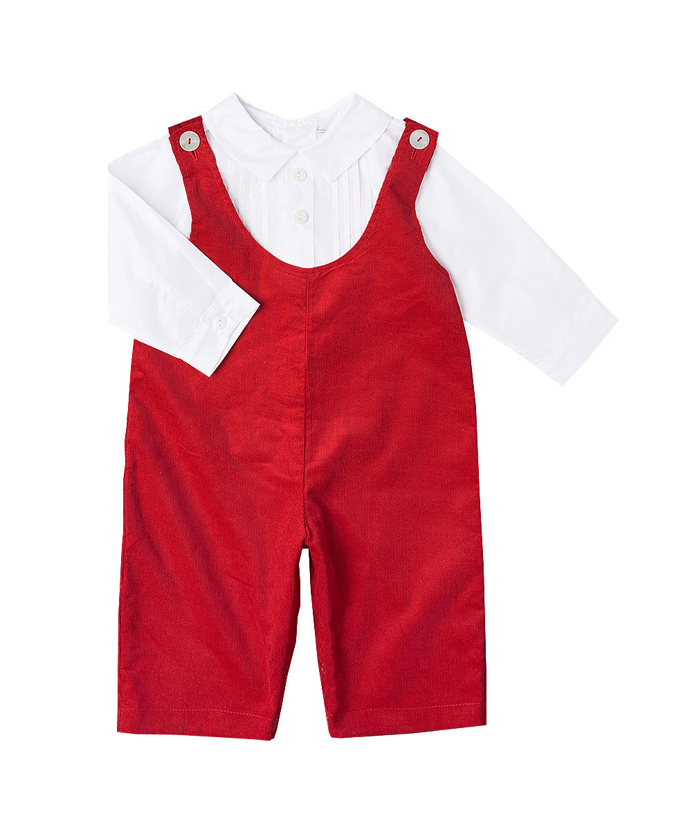 Red Corduroy Overalls & Pleated Shirt