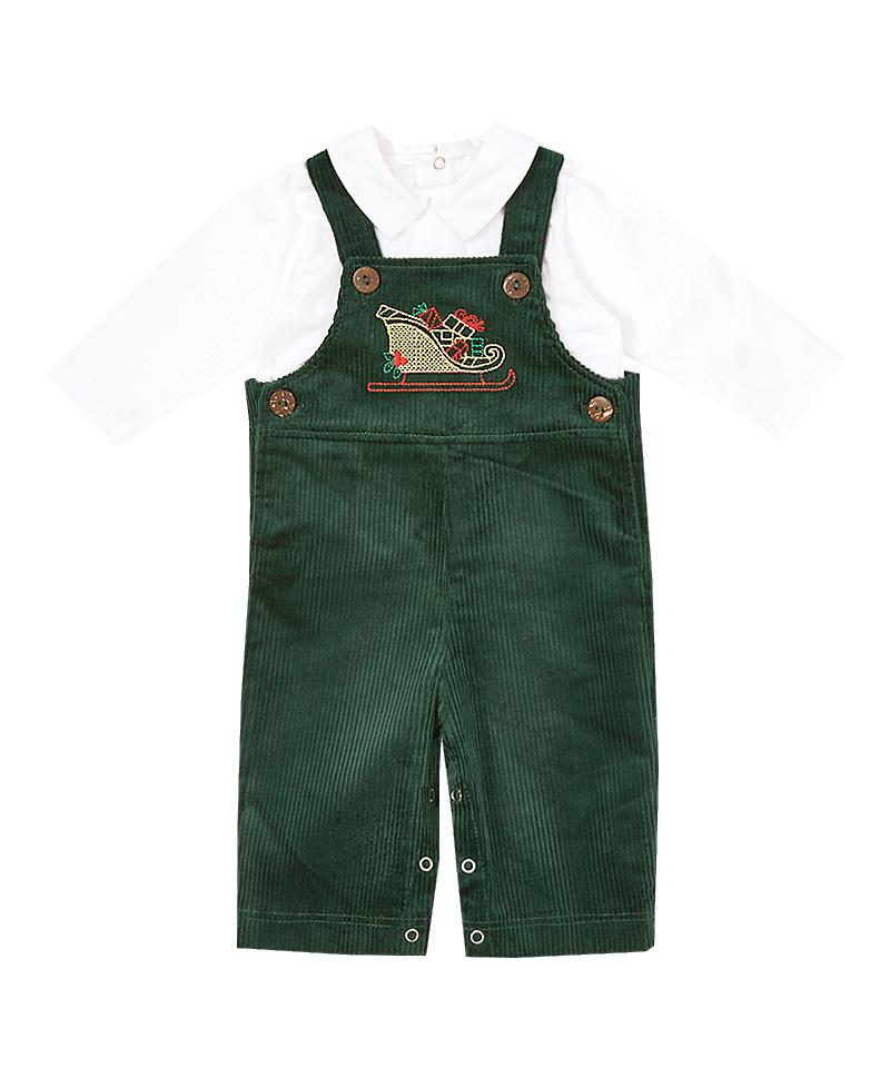 Sleigh Embroidered Corduroy Overalls & Shirt