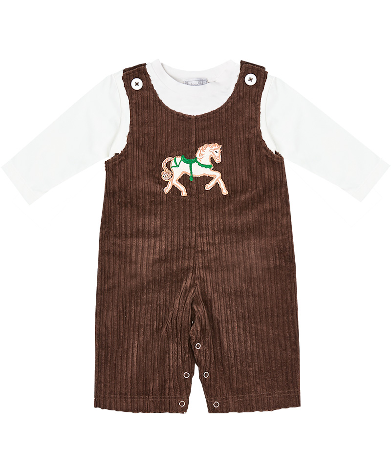 Horse Embroidered Corduroy Overalls  & Shirt