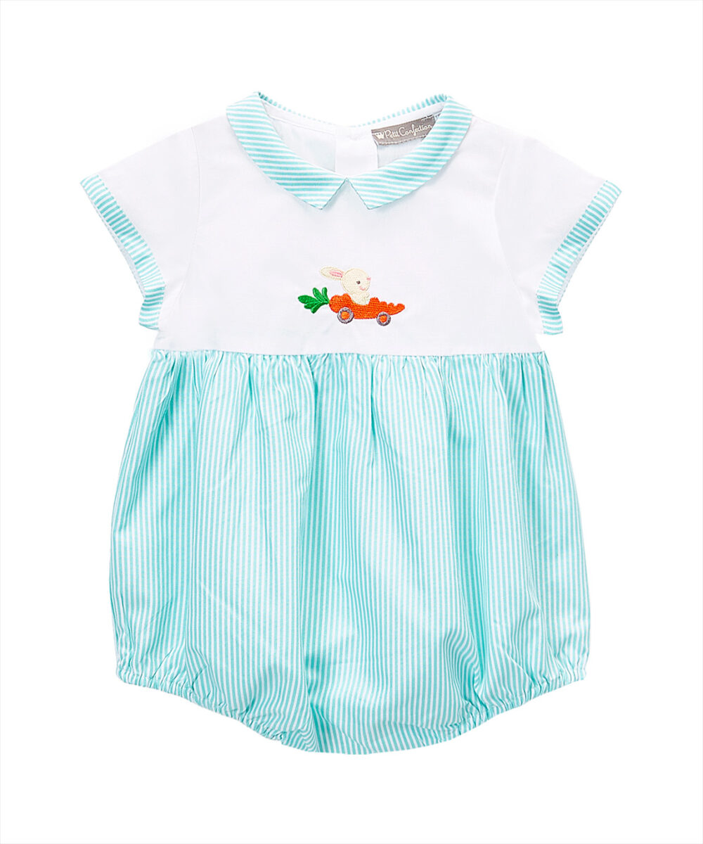 White & Green Carrot -Mobile Romper