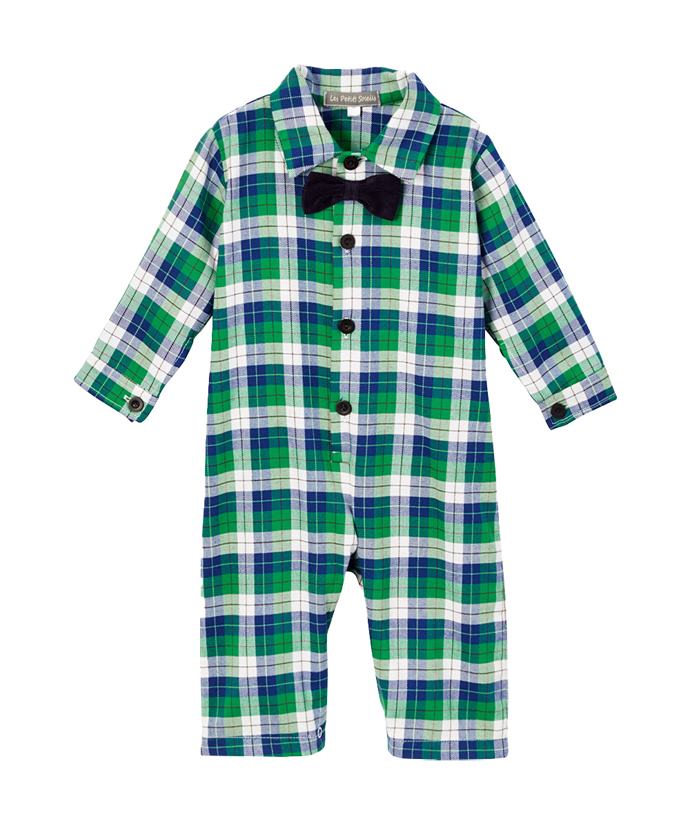Green & White Plaid Bow Tie Playsuit