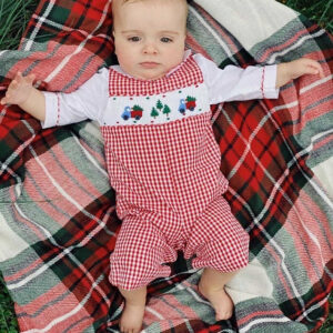 Smocked Red Gingham Christmas Tree Romper photo review