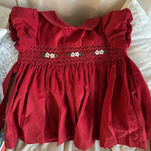 Smocked Bubble Sleeve Red Corduroy Dress photo review