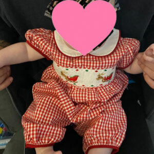 Red Gingham Reindeer Sleigh Girl Romper photo review