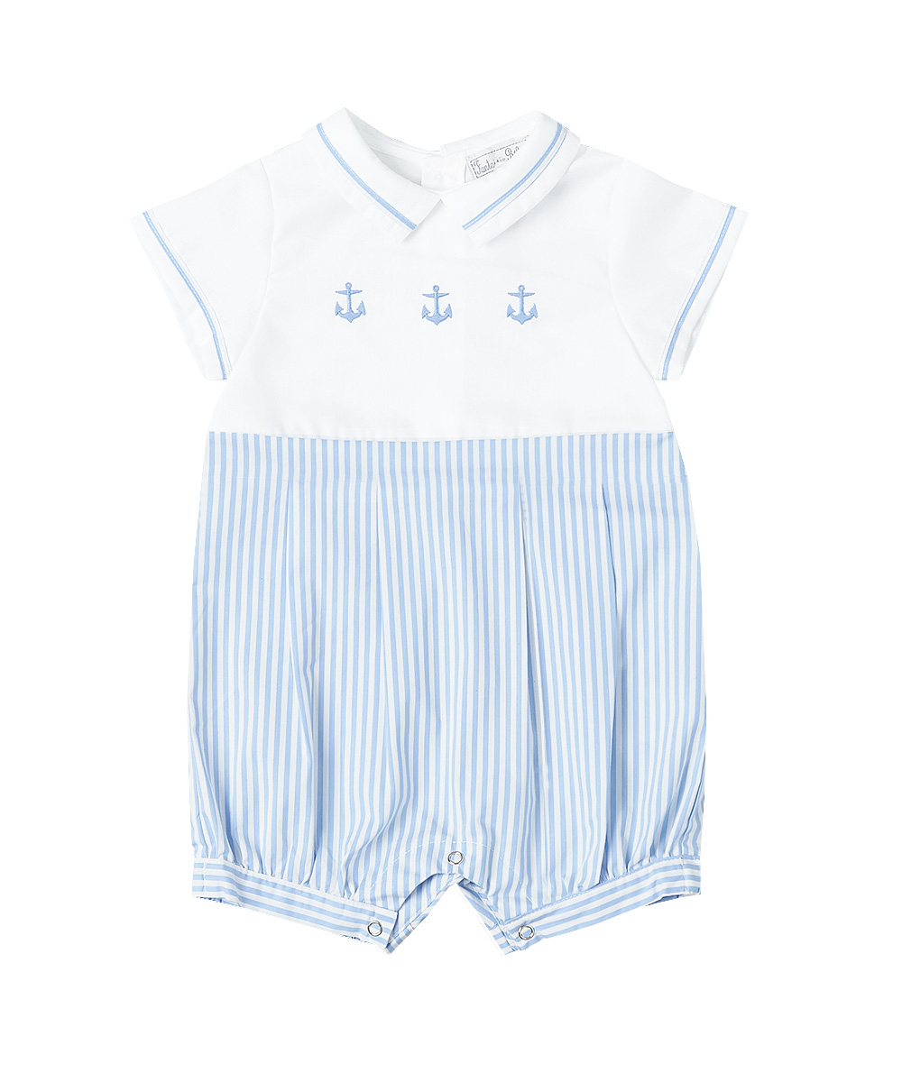 White & Blue Embroidered Anchor Romper