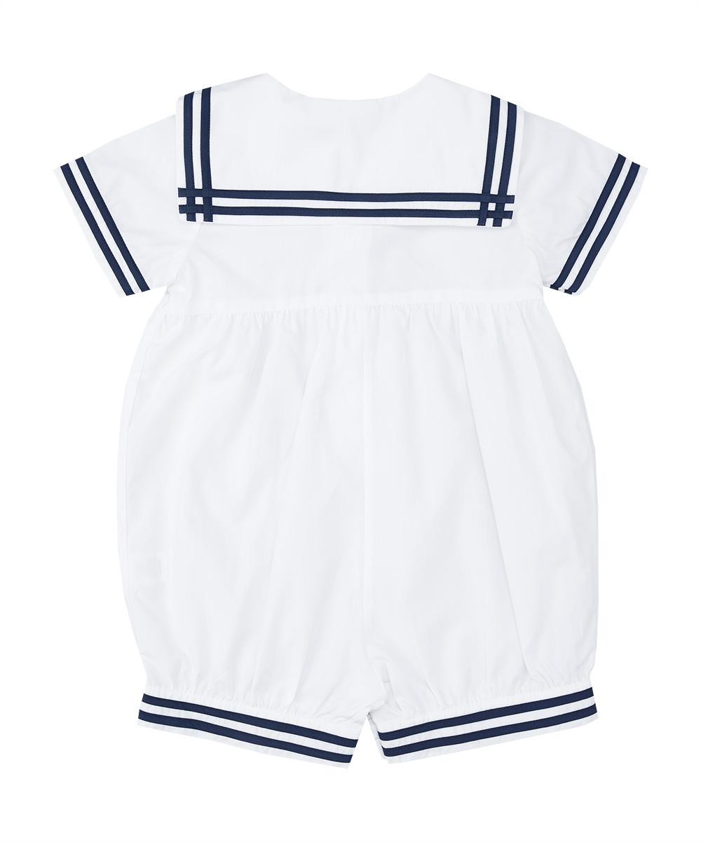 White & Navy Blue Sailor  Romper