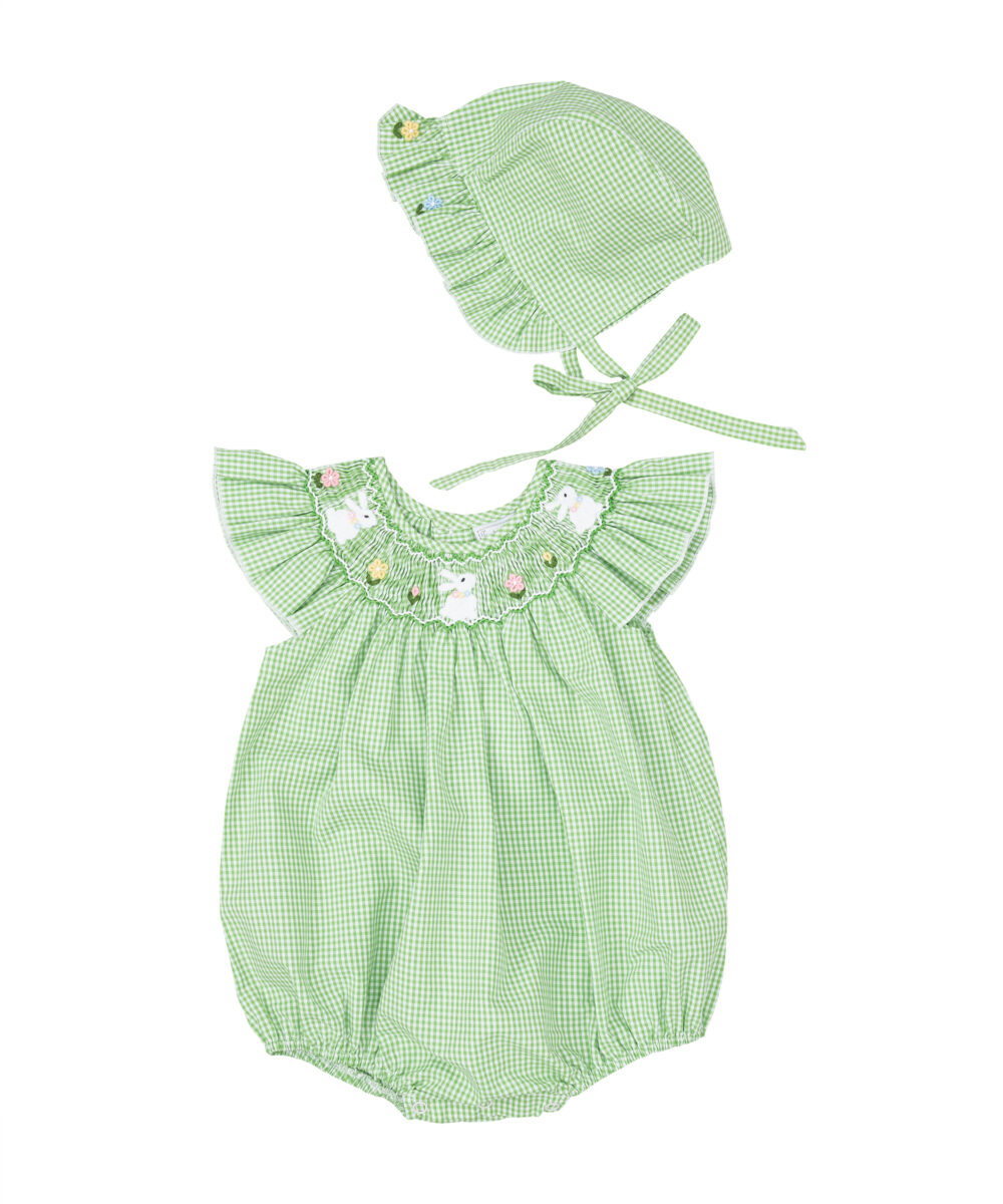 Smocked Green Gingham Bunny Bubble &Hat