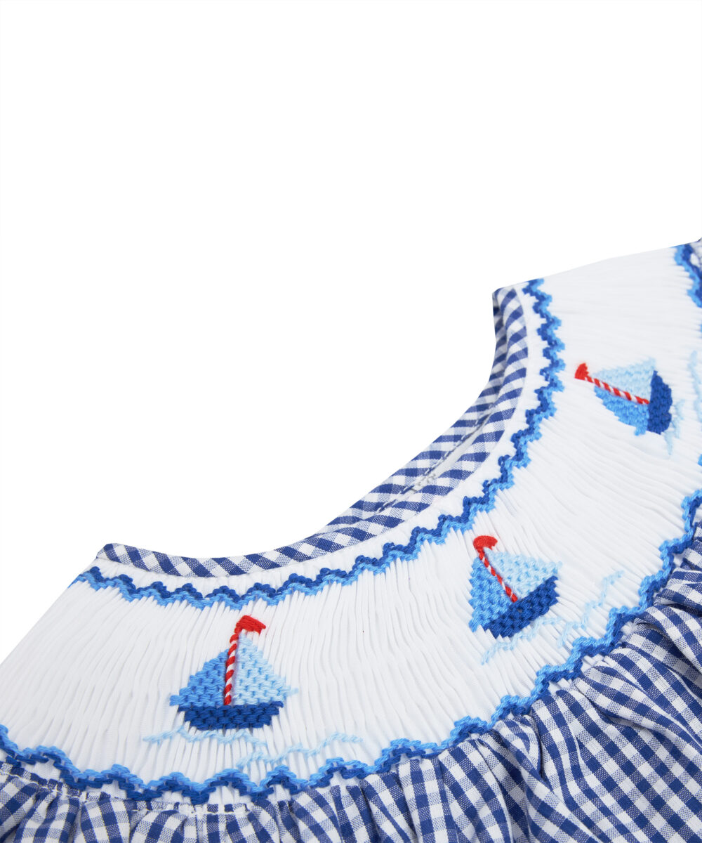 Smocked Navy Blue & White Sailing Boat Bubble and Bonnet