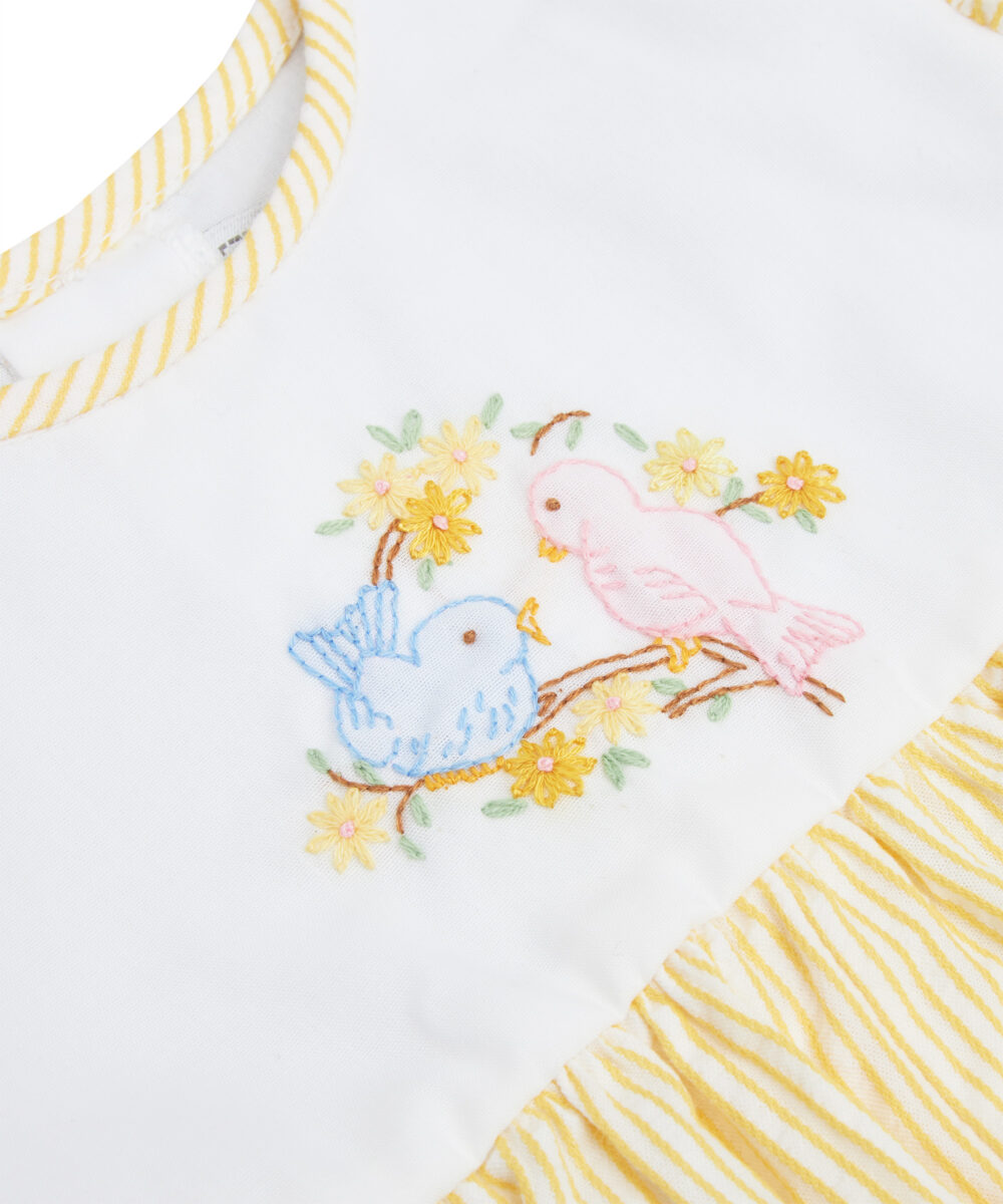 Smocked Yellow Stripe Bird Embroidered Bubble