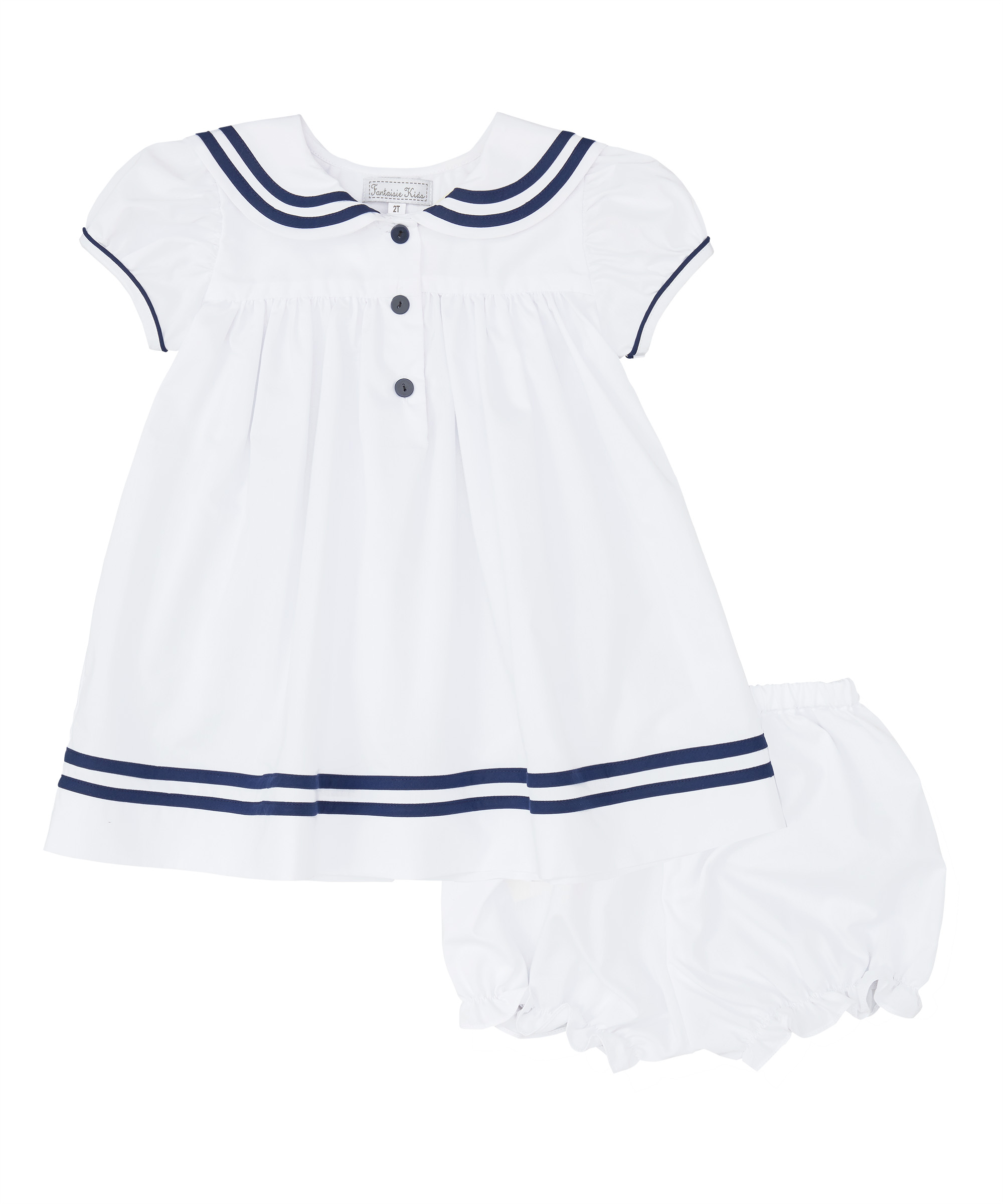 White & Navy Blue Sailor Dress and Bloomers