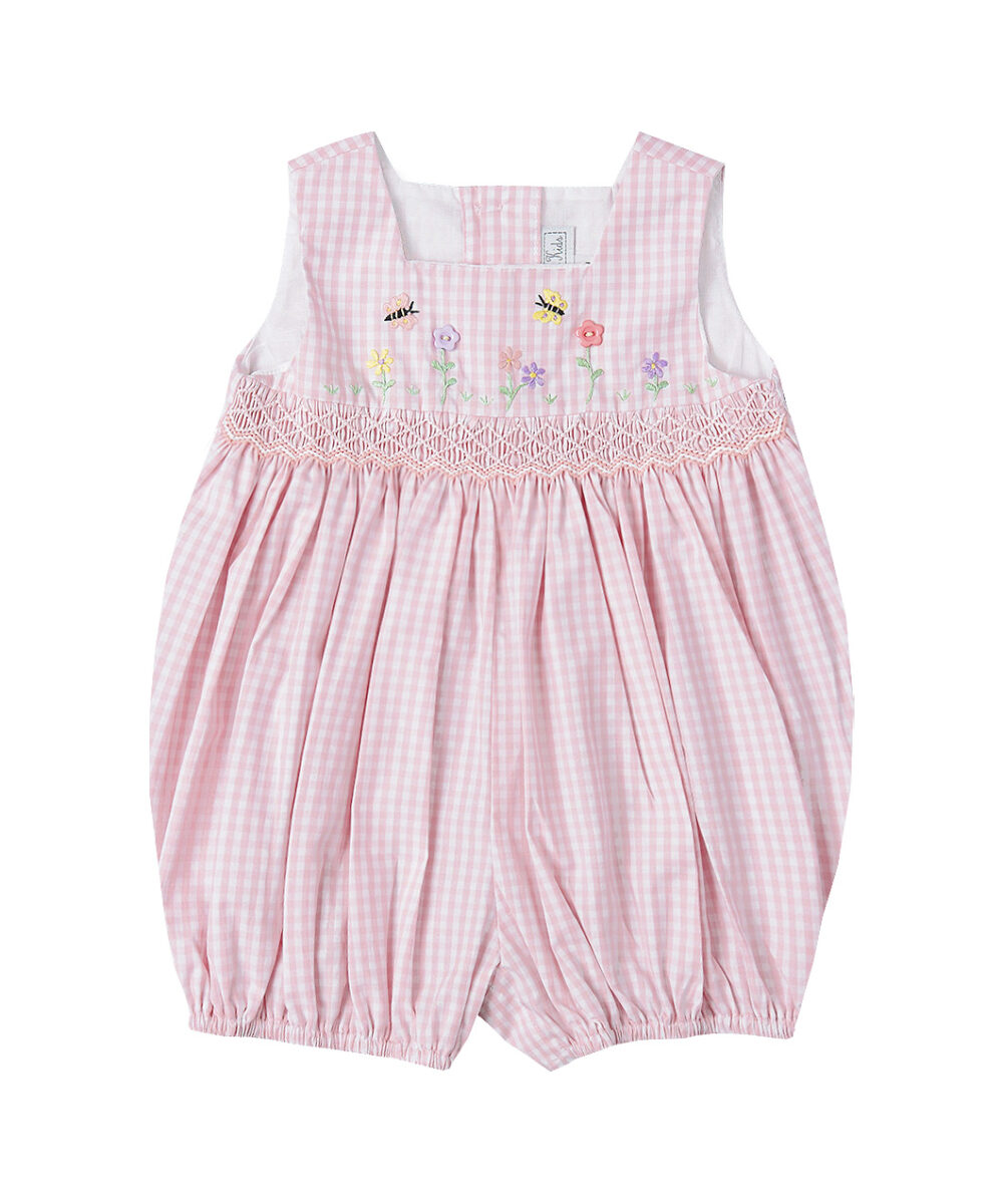 Smocked & Embroidered Pink Bubble