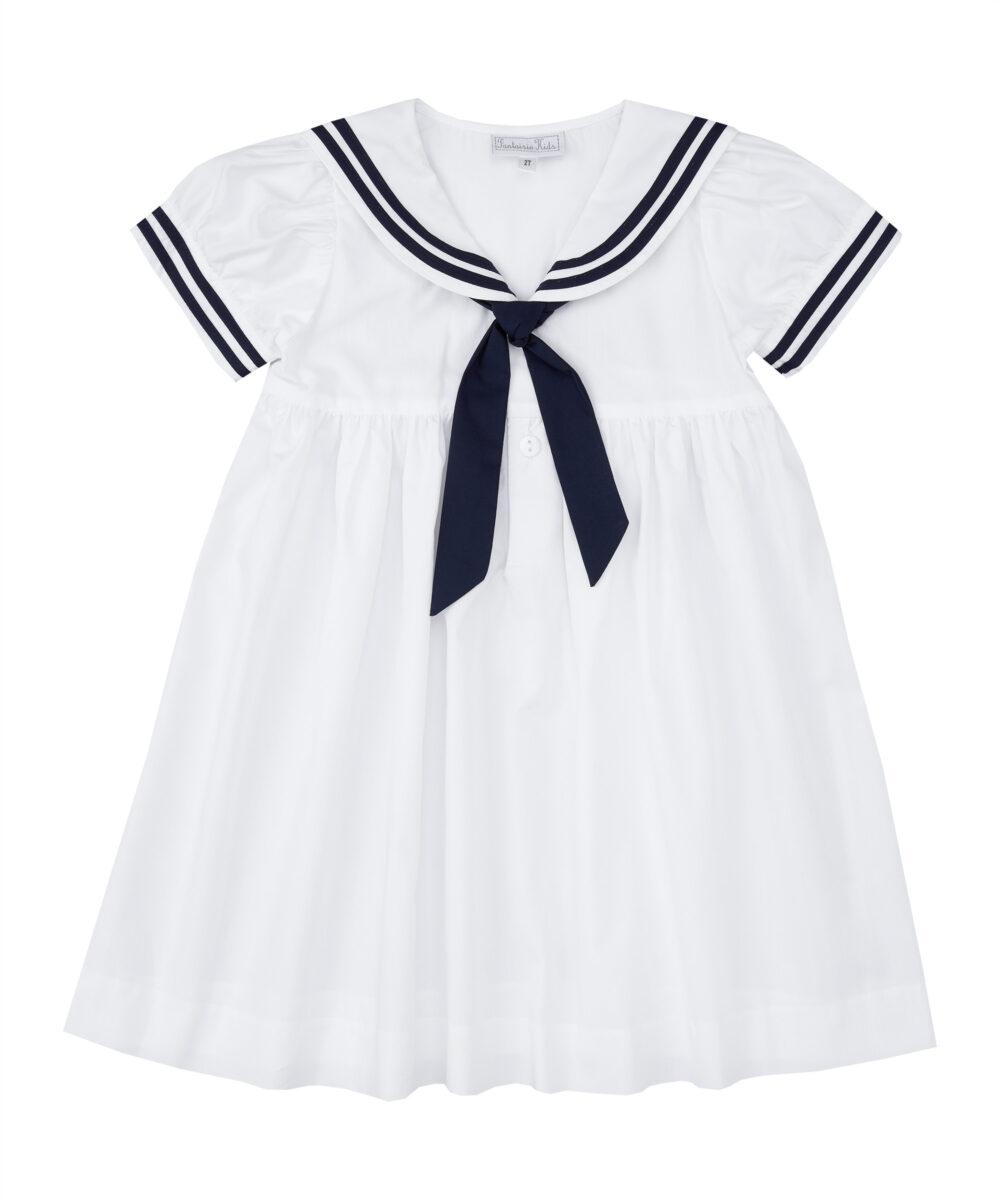 White & Navy Blue Sailor Dress
